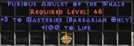 Barbarian Amulet - 3 Combat Masteries & 100 Life
