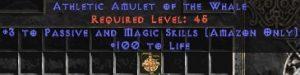 Amazon Amulet – 3 Passive/Magic Skills & 100 Life
