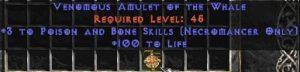 Necromancer Amulet - 3 P&B Spells & 100 Life