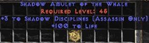 Assassin Amulet – 3 Shadow Disciplines & 100 Life