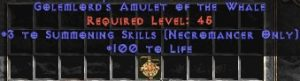 Necromancer Amulet - 3 Summoning Spells & 100 Life