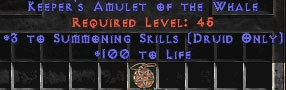 Druid Amulet – 3 Summoning & 100 Life