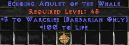 Barbarian Amulet – 3 Warcries & 100 Life