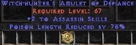 Assassin Amulet – 2 All Assn Skills & 75% PLR