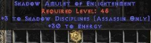 Assassin Amulet – 3 Shadow Disciplines & 30 Energy