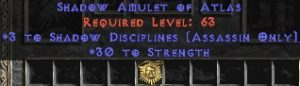 Assassin Amulet – 3 Shadow Disciplines & 30 Str