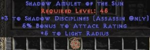 Assassin Amulet – 3 Shadow Disciplines & 5% AR