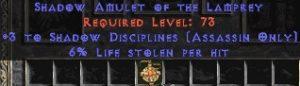 Assassin Amulet – 3 Shadow Disciplines & 6% LL