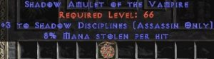 Assassin Amulet – 3 Shadow Disciplines & 8% ML