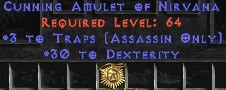 Assassin Amulet – 3 Traps & 30 Dex