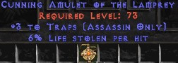 Assassin Amulet – 3 Traps & 6% LL