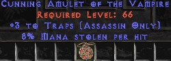 Assassin Amulet – 3 Traps & 8% ML