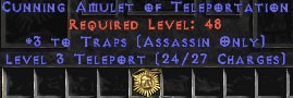 Assassin Amulet – 3 Traps & Teleport