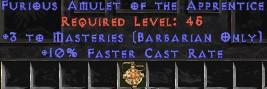 Barbarian Amulet – 3 Combat Masteries & 10% FCR