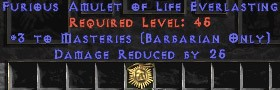 Barbarian Amulet – 3 Combat Masteries & 25 PDR