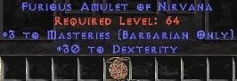 Barbarian Amulet - 3 Combat Masteries & 30 Dex