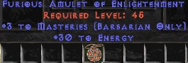 Barbarian Amulet - 3 Combat Masteries & 30 Energy
