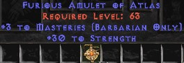 Barbarian Amulet - 3 Combat Masteries & 30 Str