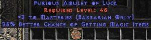 Barbarian Amulet - 3 Combat Masteries & 35% MF