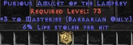 Barbarian Amulet – 3 Combat Masteries & 6% LL