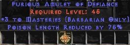 Barbarian Amulet – 3 Combat Masteries & 75% PLR