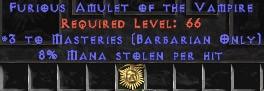 Barbarian Amulet – 3 Combat Masteries & 8% ML