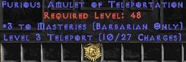 Barbarian Amulet – 3 Combat Masteries & Teleport