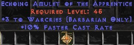 Barbarian Amulet – 3 Warcries & 10% FCR