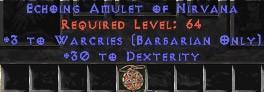 Barbarian Amulet – 3 Warcries & 30 Dex