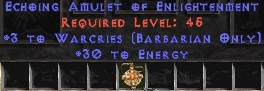 Barbarian Amulet – 3 Warcries & 30 Energy