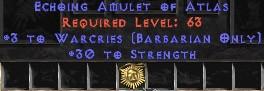 Barbarian Amulet – 3 Warcries & 30 Str