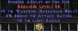 Barbarian Amulet – 3 Warcries & 5% AR