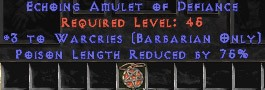 Barbarian Amulet – 3 Warcries & 75% PLR
