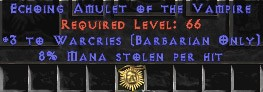 Barbarian Amulet – 3 Warcries & 8% ML