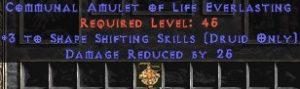 Druid Amulet – 3 Shapeshifting & 25 PDR