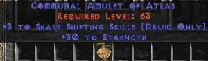 Druid Amulet – 3 Shapeshifting & 30 Str