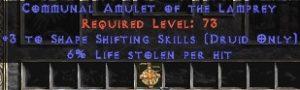Druid Amulet – 3 Shapeshifting & 6% LL