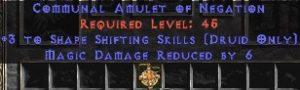 Druid Amulet – 3 Shapeshifting & 6 MDR