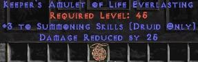 Druid Amulet – 3 Summoning & 25 PDR