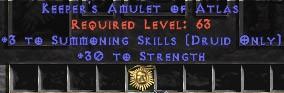 Druid Amulet – 3 Summoning & 30 Str