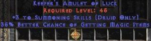 Druid Amulet – 3 Summoning & 35% MF