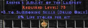 Druid Amulet – 3 Summoning & 6% LL
