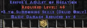 Druid Amulet – 3 Summoning & 6 MDR