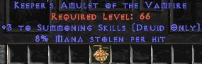 Druid Amulet – 3 Summoning & 8% ML