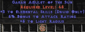 Druid Amulet – 3 Elemental & 5% AR