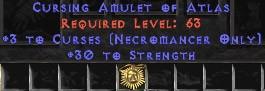Necromancer Amulet - 3 Curses & 30 Str