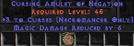 Necromancer Amulet - 3 Curses & 6 MDR