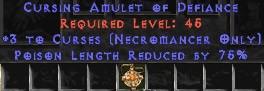 Necromancer Amulet - 3 Curses & 75% PLR