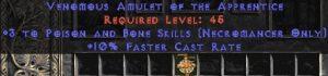 Necromancer Amulet - 3 P&B Spells & 10% FCR