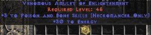 Necromancer Amulet - 3 P&B Spells & 30 Energy